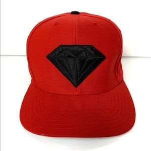 Diamond Supply Co Emblem Red & Black SnapBack Hat